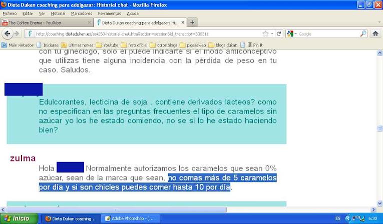 Transcripción pública de los chats, pagina oficial dukan españa