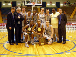 2003 BFS Varsity Basketball Team receiving the State Championship trophy