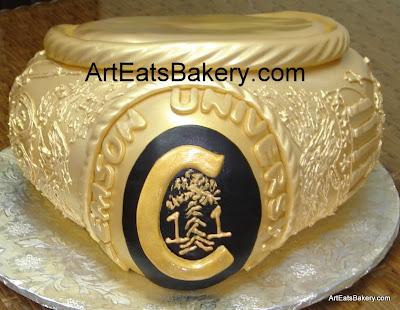 Custom designed 3D Clemson University gold ring graduation cake