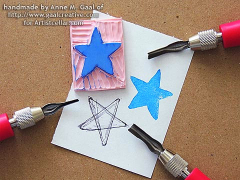 Star-shaped stamp carved in a video tutorial at http://www.gaalcreative.com