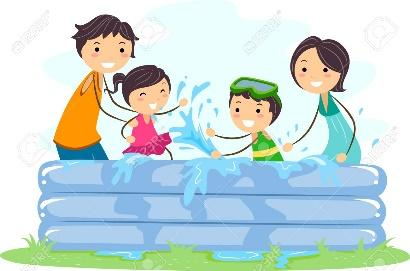 Illustration Of A Family Playing In An Inflatable Pool Stock Photo, Picture  And Royalty Free Image. Image 9781896.