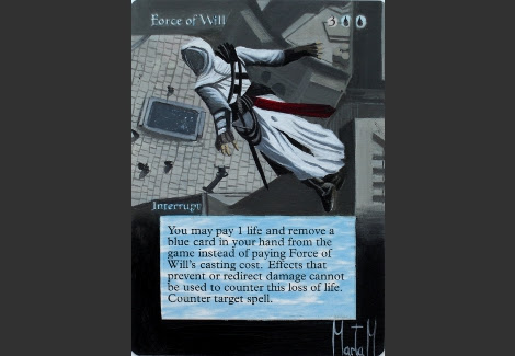 Force of Will Magic the Gathering art Mtg altered art Leap of Faith Assassin's Creed Concept Art Altair Concept art Ezio Auditore da Firenze video game art