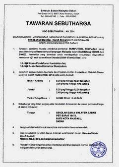 Iklan Sebut Harga Sekolah Sukan Malaysia Sabah