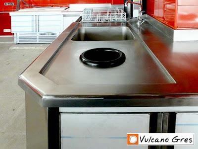 Tren de lavado adaptado a las dimensiones especificas demandadas por el cliente según la disponibilidad de espacio. Realizado íntegramente en acero inoxidable. Consta de un orificio para la basura, fregadero, maquina lavavajillas y mesa de trabajo.