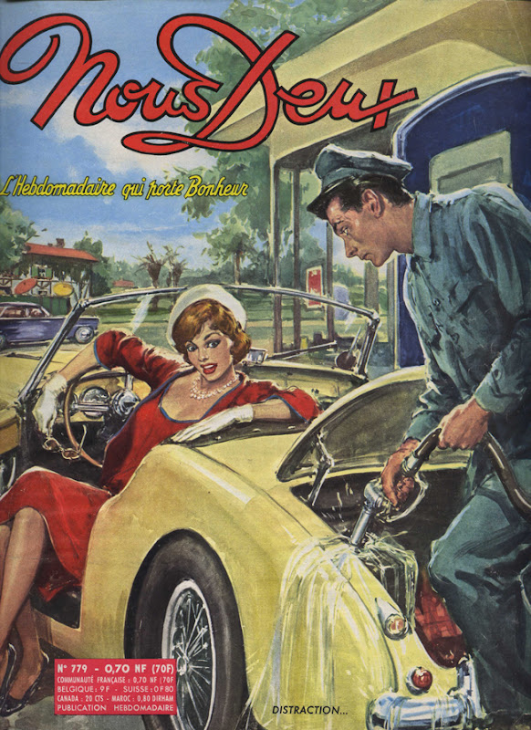 Couverture de magazine vintage : Nous Deux / Distraction... - Pour vous Madame, pour vous Monsieur, des publicités, illustrations et rédactionnels choisis avec amour dans des publications des années 50, 60 et 70. Popcards Factory vous offre des divertissements de qualité. Vous pouvez également nous retrouver sur www.popcards.fr et www.filmfix.fr   - For you Madame, for you Sir, advertising, illustrations and editorials lovingly selected in publications from the fourties, the sixties and the seventies. Popcards Factory offers quality entertainment. You may also find us on www.popcards.fr and www.filmfix.fr