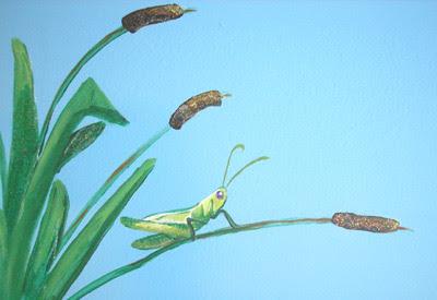 Grasshopper relaxing on a cattail.