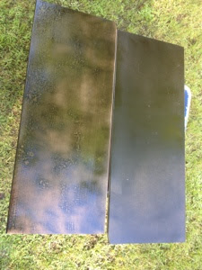 Painting bookcase backing black with spray paint