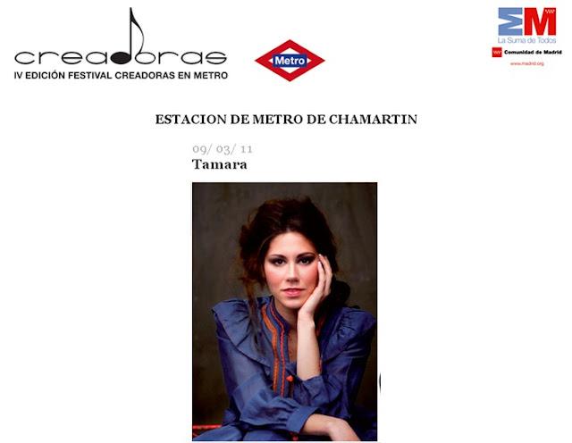 Entradas para el concierto de Tamara en el festival Creadoras