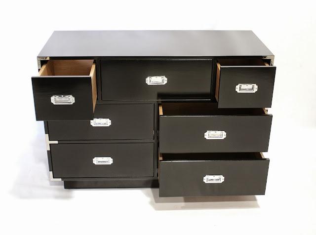Black Campaign Dresser, drawers open