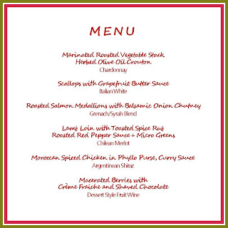 menu rebuilt by Chef Colleen of Leen's Cuisine . we written a menu