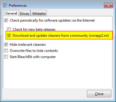 Download and update Winapp2.ini automatically: BleachBit 0.8.8 on Windows 7
