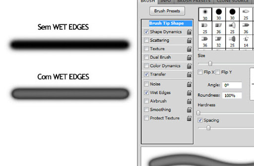 Exemplo de pincelada sem e com uso de Wet Edges no Brush Dynamics