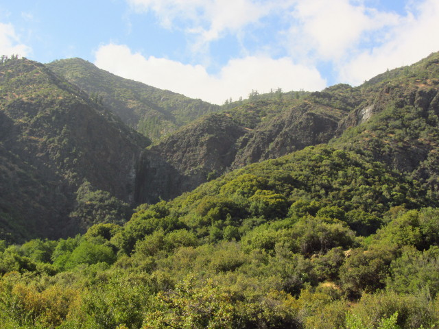 upper Rose Valley Falls and the surrounding hills