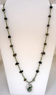 """Forest -  Tree agate nuggets, seed beads & pendant rock 25""""  $32"""