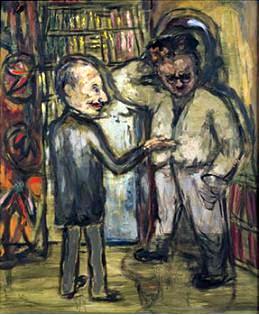 Беседа в библиотеке, 1950: Штайнер и Канетти в изображении художницы Марии-Луизы фон Мотесицки.
