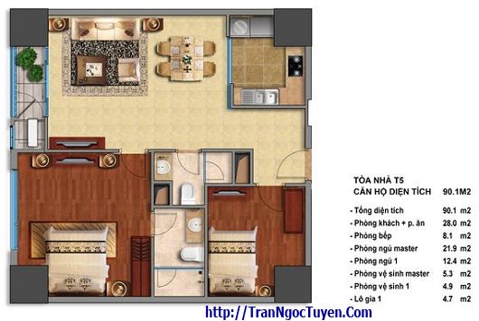 Bán chung cư Times City T5 T6 T7 căn hộ 90.1m2