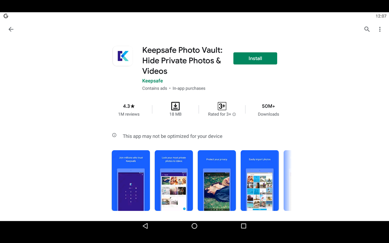Keepsafe app via BlueStacks