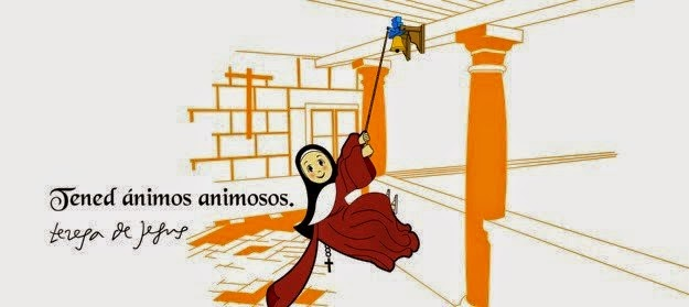 Dibujo mostrando a Santa Teresa de Jesús volteando alegre una campana en un claustro