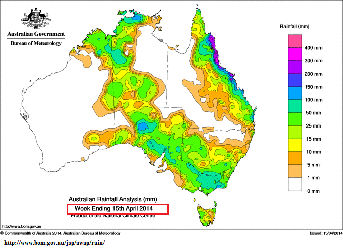 Rain totals Australia .Week ending 15th April 2014