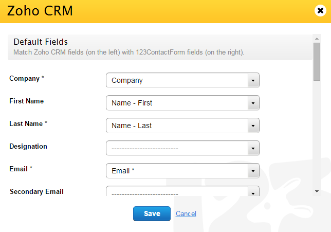 Zoho CRM integration with web forms