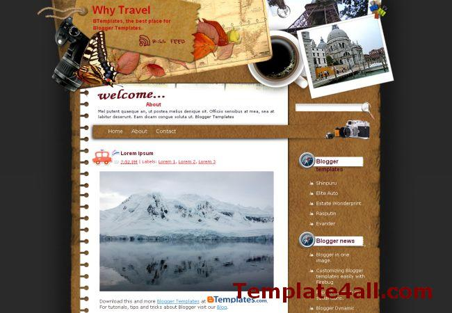 Free Travel Trips Blogger Theme Template