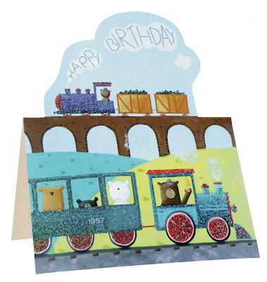 die cut birthday cards - train birthday card