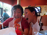 Maria and Yoko enjoying the lobster