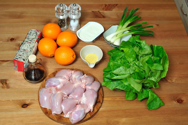 Razvan Anton pui in sos de portocale salata verde ceapa verde orez salbatic sare piper otet crema de branza malai