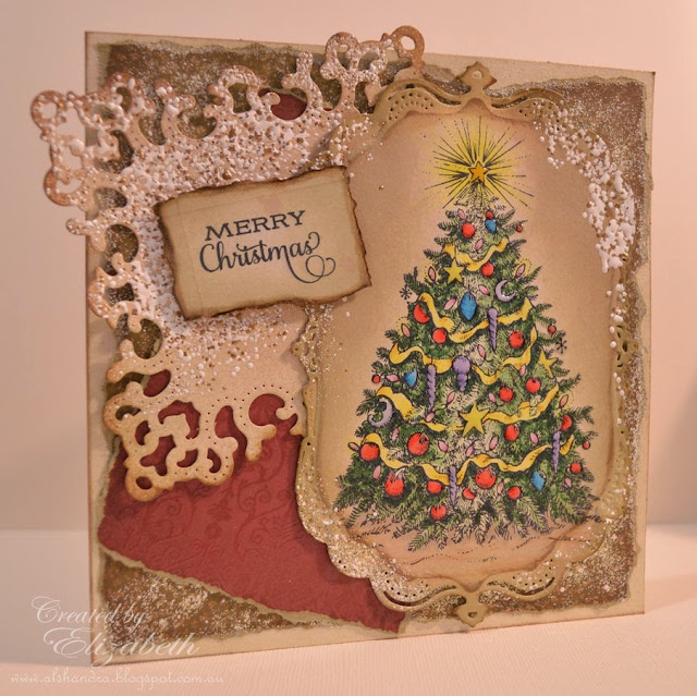 Elizabeth Whisson, shabby chic, christmas, copic, flourishes, trimmed with love