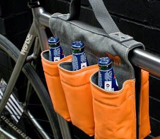 Porta 6 pack cerveza de piel para la bici