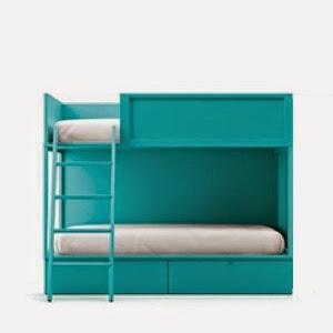 Litera moderna en color turquesa con dos camas y cajones
