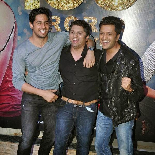 The trio of Ek Villian - Sidharth Malhotra, Mohit Suri and Riteish Deshmukh share a light moment during the success party of Bollywood movie 'Ek Villain', held at Ekta Kapoor's residence on July 15, 2014.(Pic: Viral Bhayani)
