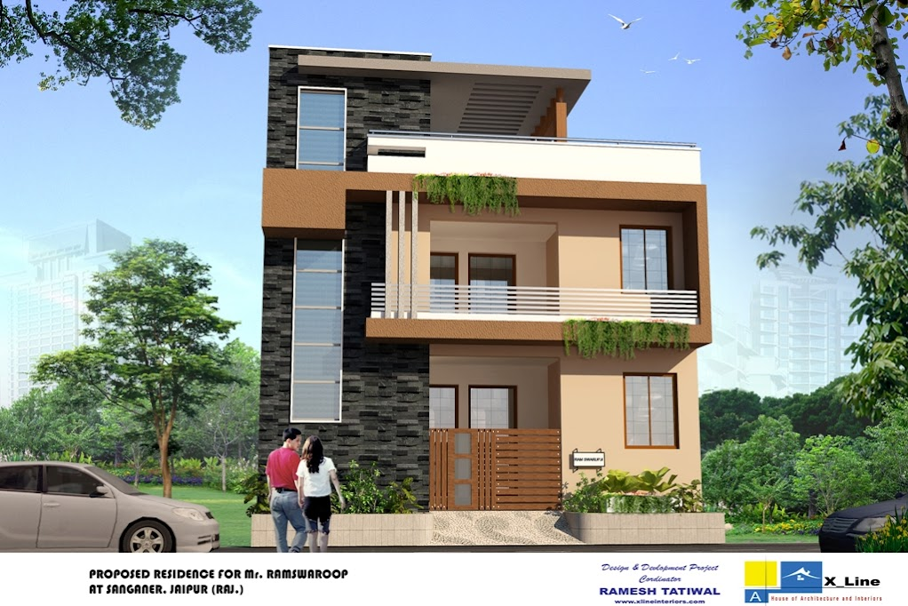 Modern north indian style villa 1022 682 for Home exterior design india residence houses