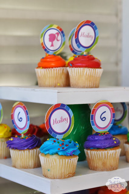 rainbow barbie party cupcakes
