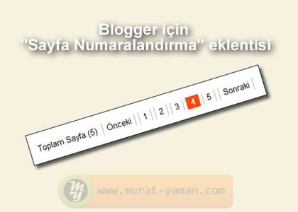 Blogger için sayfa numaralandırma eklentisi