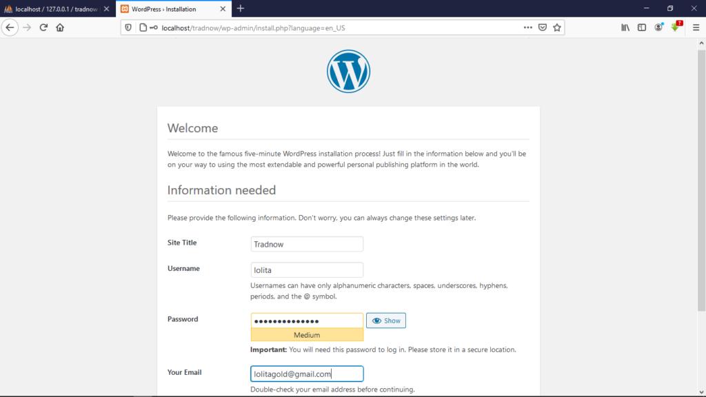 wordpress site details