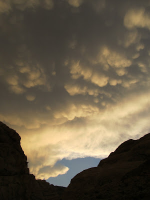 Mammatus clouds over Three Finger Canyon