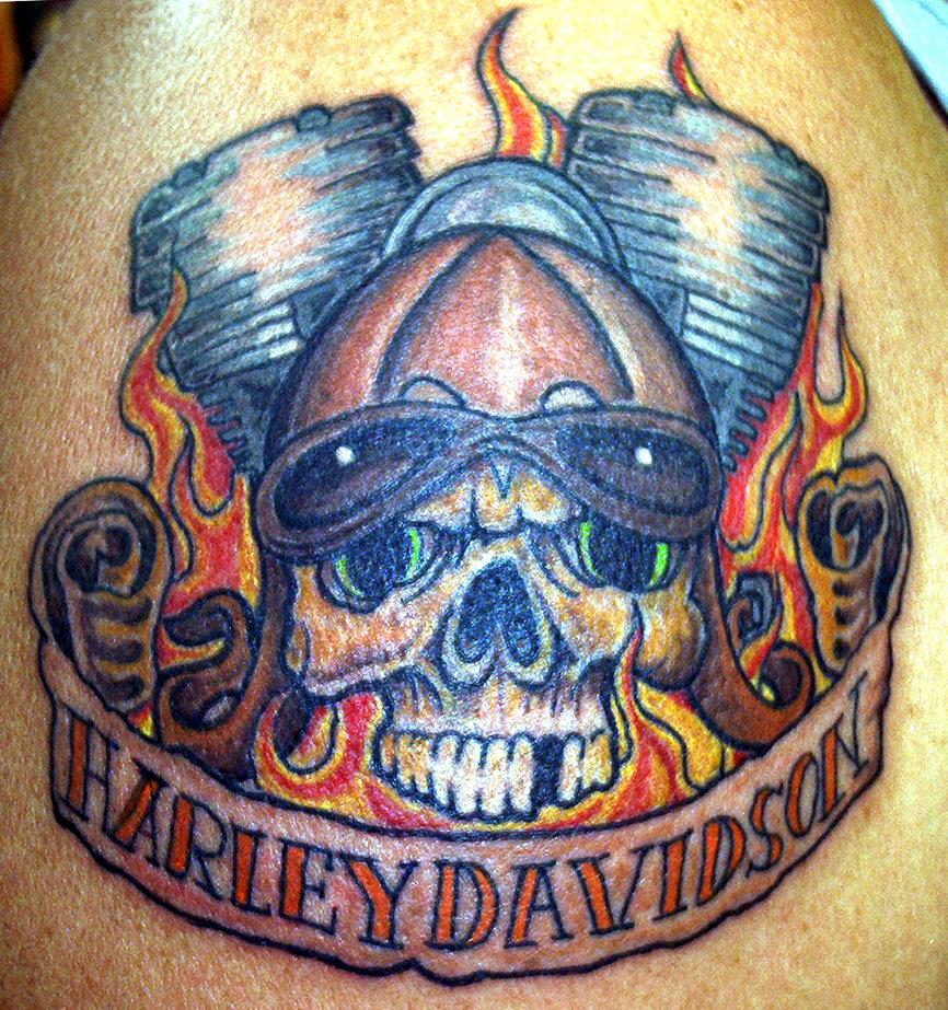 Buddy top tattoo designs for bikers motor bike themes for Harley skull tattoos