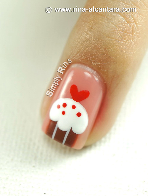 Cupcakes for Valentine's Nail Art Design