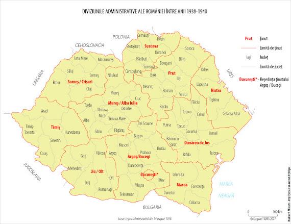 Harta administrativ-teritorială a României între 1938 - 1940