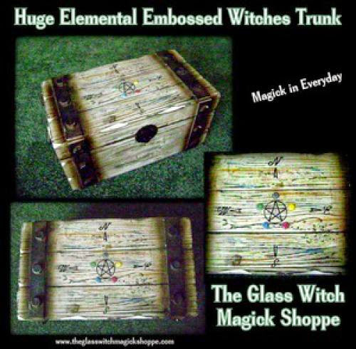 Huge Elemental Embossed Witches Chest Trunk Dh - 99 00