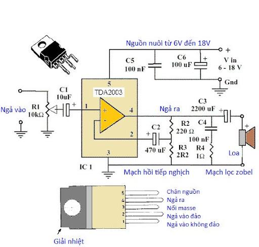 TDA2003 Mạch ứng dụng: Mạch khuếch đại âm thanh dùng IC TDA2003.