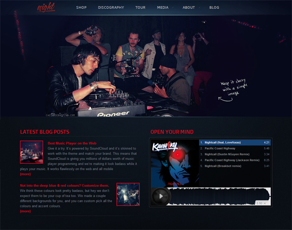 Night Music WordPress Theme for DJs