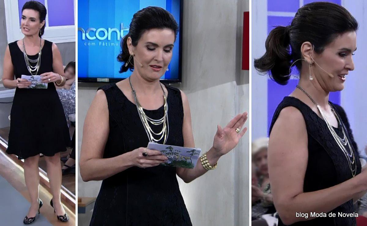 moda do programa Encontro - look da Fátima Bernardes com vestido preto dia 25 de julho