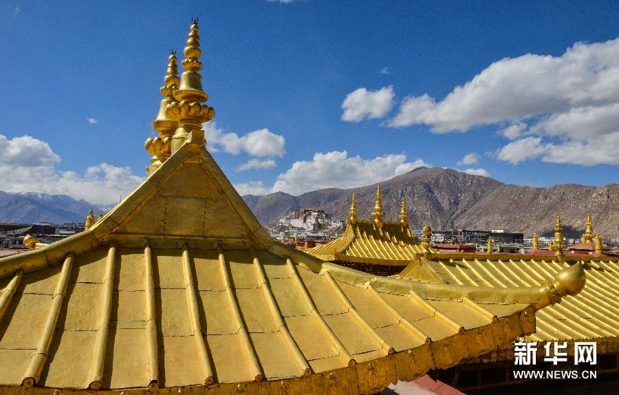 South Asia: Renovation work at temple in Tibet near complete