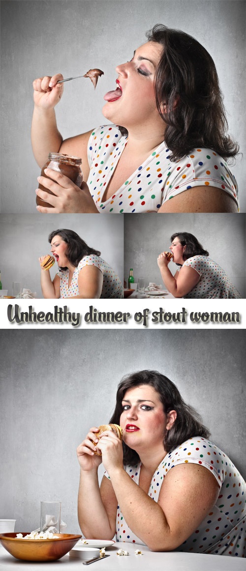 Stock Photo: Unhealthy dinner of stout woman