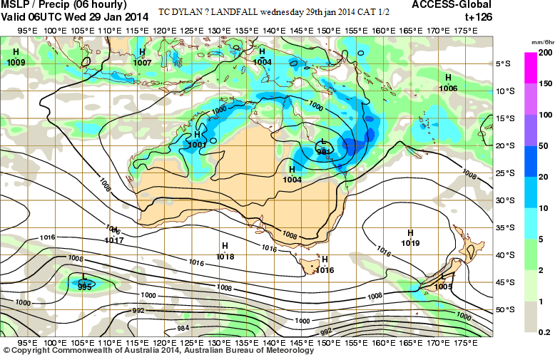 29th jan 2014 posible TCdylan in qld