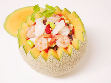 Cantaloupe Seafood Bowl