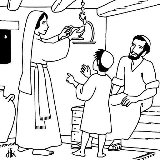 Dibujos Católicos : Imágenes infancia de Jesús para colorear