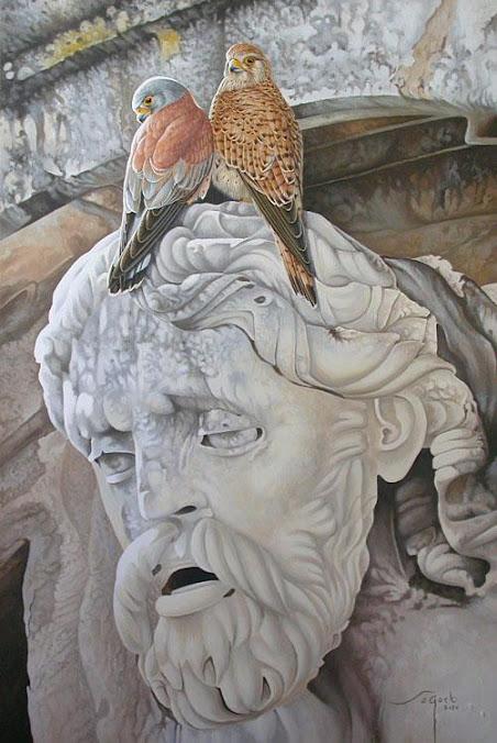 Pintura de Lluis Sogorb,Pájaros en la cabeza